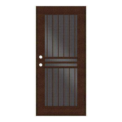 Plain Bar Copperclad Surface Mount Aluminum Security Door w/ Perforated Aluminum Screen