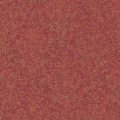 8 in. x 10 in. Red Earth Tone Striped Damask Wallpaper Sample