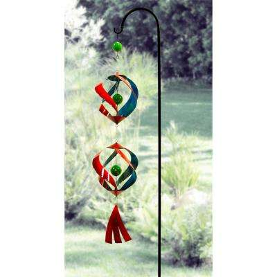 """Alpine Corporation 40"""" Tall Outdoor Hanging Metal Wind Spinner Yard Decoration with Shepherd's Hook Holder, Red and Blue"""