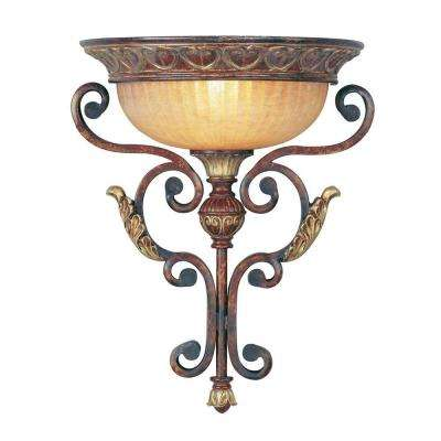Providence 1-Light Verona Bronze with Aged Gold Leaf Accents Incandescent Wall Mount Sconce
