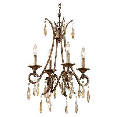Reina 4-Light Gilded Imperial Silver 1-Tier Chandelier