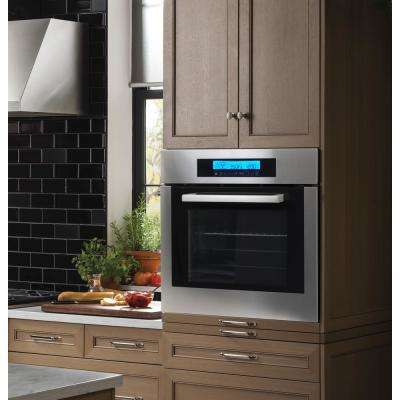 24 in. 2 cu. ft. Single Electric Wall Oven w/10 Functions True European Convection and Self-Cleaning in Stainless Steel