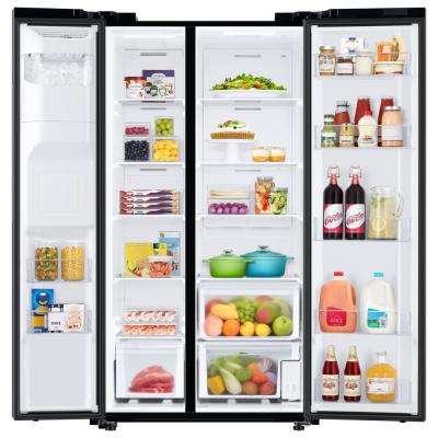 27.4 cu. ft. Side by Side Refrigerator in Fingerprint Resistant Black Stainless Steel