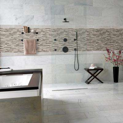 Modello Grigio Interlocking 12 in. x 12 in. x 6 mm Glass Stone Mesh-Mounted Mosaic Tile