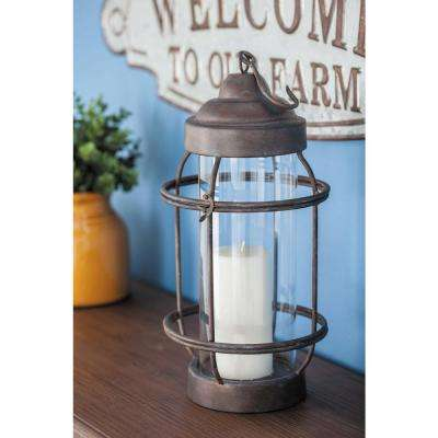 Classic Rusted Iron Cage Candle Lantern