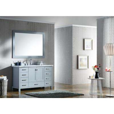Cambridge 55 in. Bath Vanity in Grey with Marble Vanity Top in Carrara White with White Basins and Mirror