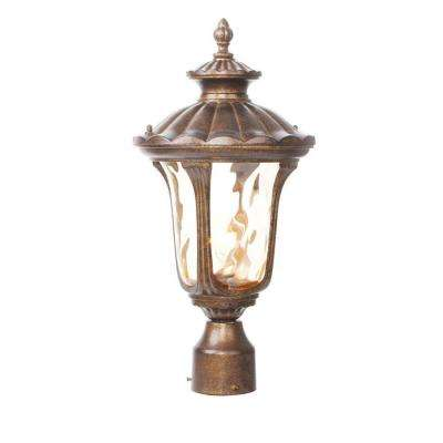 1-Light Outdoor Moroccan Gold Incandescent Post Lantern