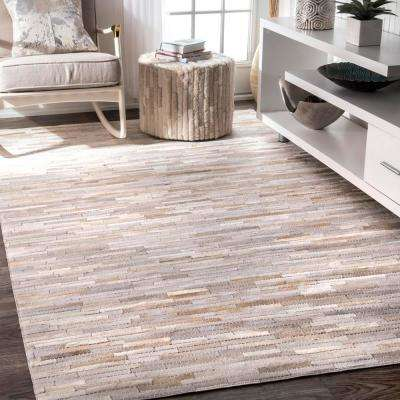 Clarity Patchwork Cowhide Beige 6 ft. x 9 ft. Area Rug