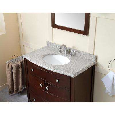 Bolton 36 in. W Bath Vanity in Tobacco with Granite Vanity Top in Beige Speckled with White Basin