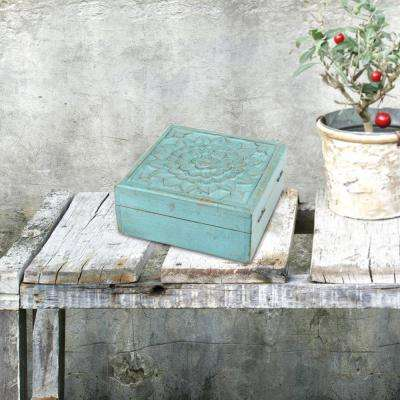 6 in. x 2.5 in. Weathered Sky Blue Wooden Box with Hinges and Carved Floral Design