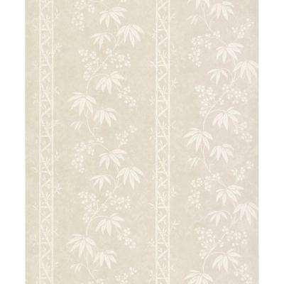 56 sq. ft. Bamboo Floral Stripe Wallpaper
