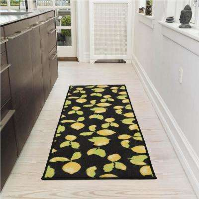 Lemon Collection Black 1 ft. 8 in. x 4 ft. 11 in. Lemon Design Runner Rug