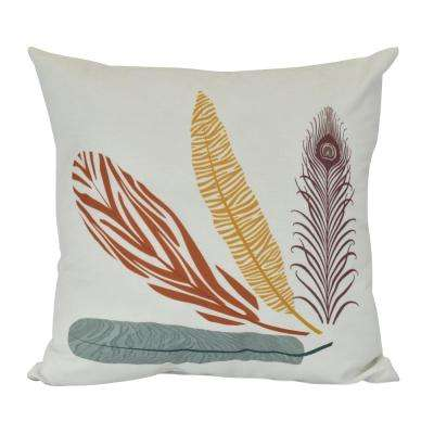 18 in. Feather Study Floral Print Decorative Pillow