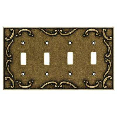 French Lace 4 Gang Toggle Switch Wall Plate - Burnished Antique Brass