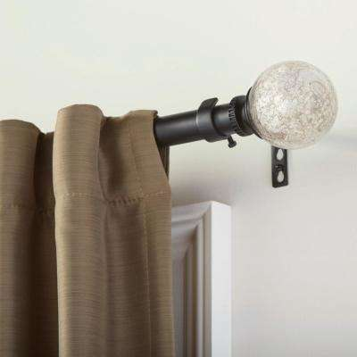 Mix and Match 1 in. Mercury Glass Sphere Curtain Rod Finial in Matte Black (2-Pack)