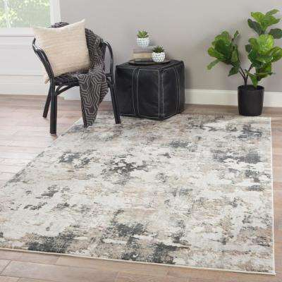 Machine Made White Sand 10 ft. x 14 ft. Abstract Area Rug
