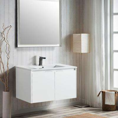 18 in. W x 19 in. D x 35 in. H White Wall-Mounted Single Bathroom Vanity with Vanity Top in White with White Basin