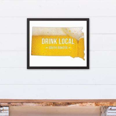 "20 in. x 16 in. ""South Dakota Drink Local Beer  "" Printed Framed Canvas Wall Art"