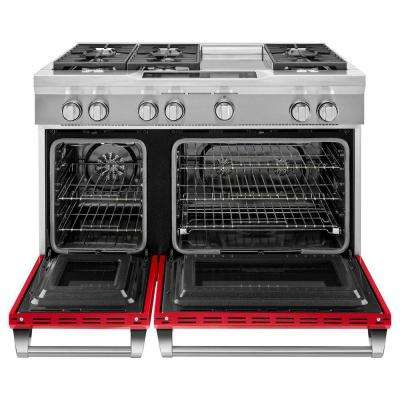 6.3 cu. ft. Dual Fuel Range Double Oven with Convection Oven in Signature Red