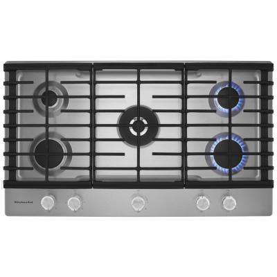 36 in. Gas Cooktop in Stainless Steel with 5 Burners Including a Professional Dual Tier Burner and a Simmer Burner