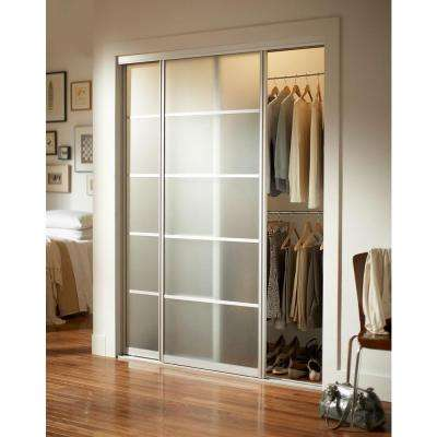 Silhouette™ 5 Lite Aluminum Frame Mystique Duratuf® Tempered Safety Glass Interior Sliding Door