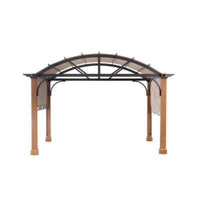 10 ft. x 12 ft. Longford Wood Outdoor Patio Pergola with Sling Canopy