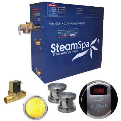 Indulgence 10.5kW QuickStart Steam Bath Generator Package with Built-In Auto Drain in Brushed Nickel