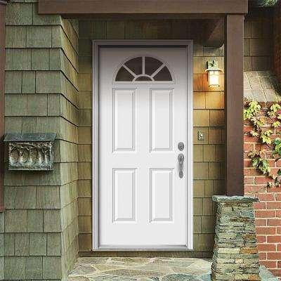 32 in. x 80 in. Fan Lite Primed Steel Prehung Left-Hand Inswing Front Door w/Brickmould