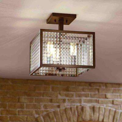 12 in. 3-Light Oil-Rubbed Bronze Semi-Flush Mount with Etched Clear Glass Shades