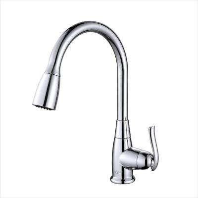 Single-Handle Stainless Steel High Arc Pull-Down Kitchen Faucet with Dual-Function Sprayer in Chrome