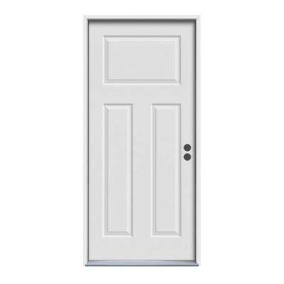 3-Panel Primed White Steel Prehung Front Door with Brickmold