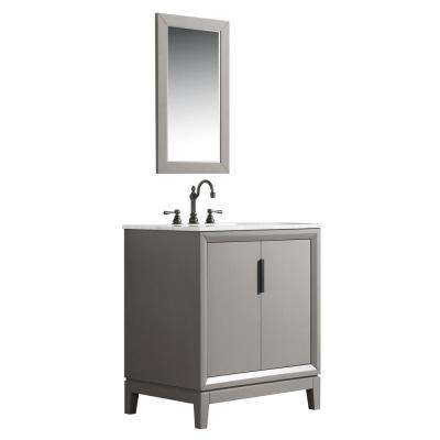 30 in. Single Sink Bath Vanity in  Carrara White Marble Vanity Top in Cashmere Grey w/ F2-0012-03-TL Lavatory Faucet