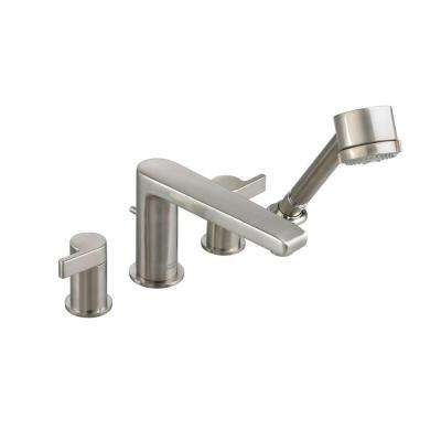 Studio 2-Handle Deck-Mount Roman Tub Faucet with Personal Shower in Brushed Nickel