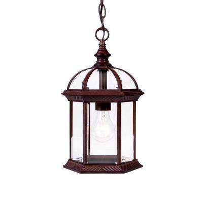 Dover Collection Hanging Outdoor 1-Light Burled Walnut Lantern