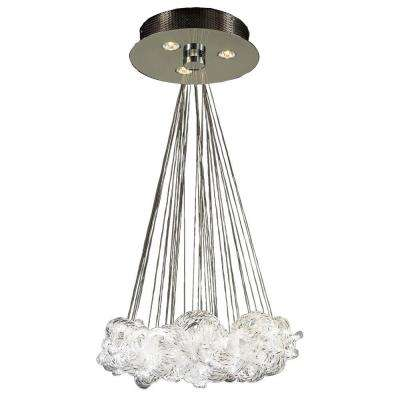 3-Light Polished Chrome Pendant with Clear Ribbed Glass Shade