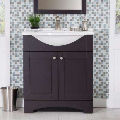 Del Mar 31 in. W Vanity in Espresso with Vanity Top in White and White Sink and MOEN Faucet  (5-piece)