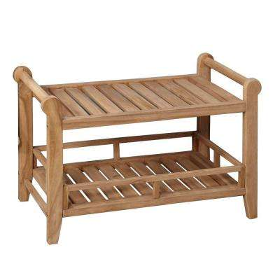 29 in. Teak Rectangular Slatted Shower Seat with Handles
