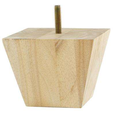 3 in. x 3-7/8 in. Unfinished Solid Hardwood Square Bun Foot
