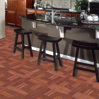 Red Oak Parquet 12 in. x 12 in. Peel and Stick Vinyl Tile Flooring (30 sq. ft. / case)