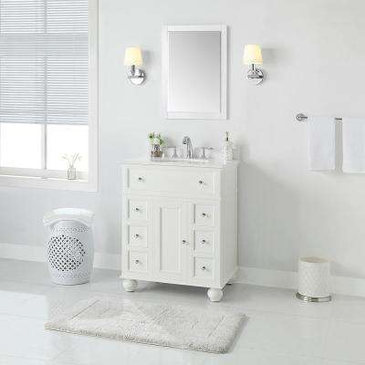 Hampton Harbor 28 in. W x 22 in D in White Bath Vanity with Natural Marble Vanity Top in White with White Sink