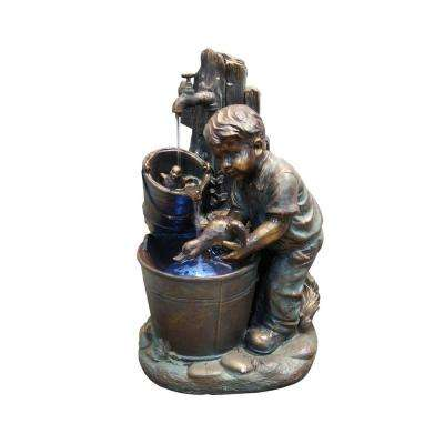 Boy Washing Duck in Bucket Fountain with LED Light