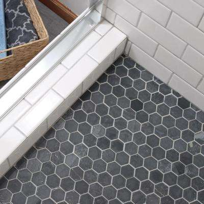 Crag Hexagon Black 11-1/8 in. x 11-1/8 in. x 8 mm Slate Mosaic Tile