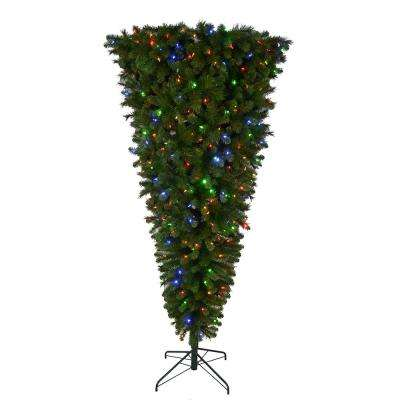 7 ft. Pre-Lit LED Wesley Upside Down Spruce Artificial Christmas Tree with 420 Color Changing Lights