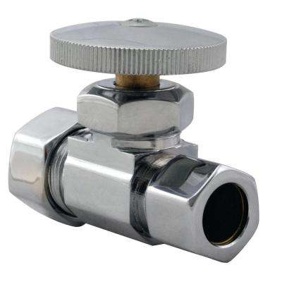 1/2 in. Nominal Compression Inlet Straight Stop with Round Handle in Polished Chrome-DISCONTINUED