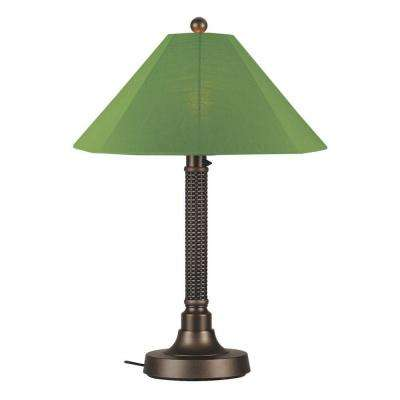 Bahama Weave 34 in. Dark Mahogany Outdoor Table Lamp with Palm Shade