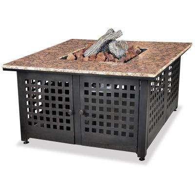 41.3 in. W x 22.4 in. H Square Granite Mantle LP Gas Fire Pit with Faux Wicker Panels and Electronic Ignition