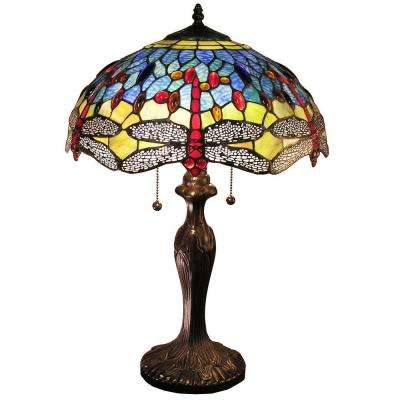 Warehouse of Tiffany Jadyn 24 in. Bronze Indoor Table Lamp with Blue Dragonfly Shade