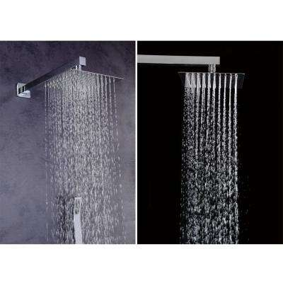 1-spray 10 in. High PressureDual Shower Head and Handheld Shower Head in Polished Chrome