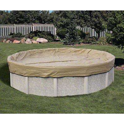 Round Tan Above Ground Armor Kote Winter Pool Cover