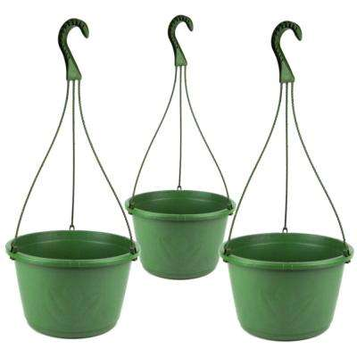 10 in. Plastic Hanging Basket Green (Pack of 3)